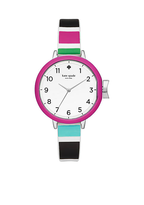 Silver-Tone Multicolored Silicone Park Row Watch