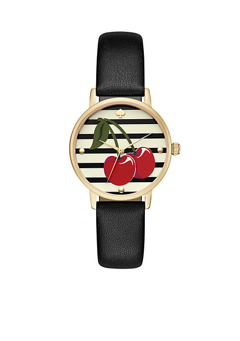 Gold-Tone Metro Cherry Black Leather Watch
