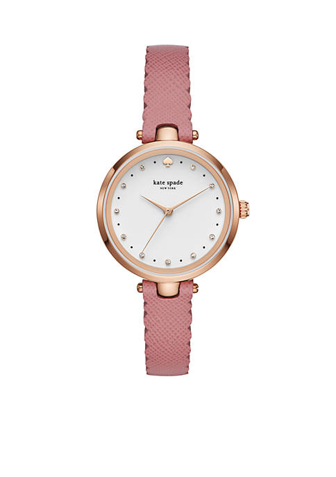 Womens Gold-Tone Holland Pink Leather Watch