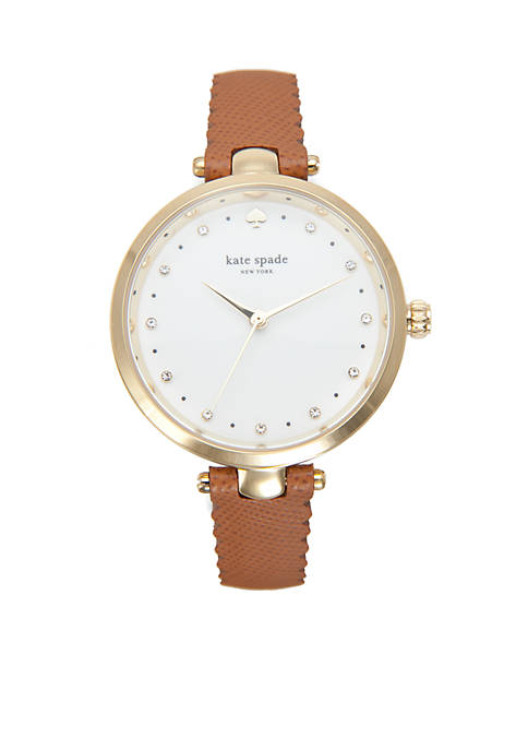 kate spade new york® Gold-Tone and Brown Leather