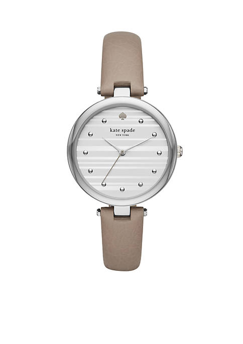 Womens Stainless Steel Varrick Gray Leather Watch
