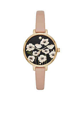 ca46ea40eee kate spade new york® Women s Gold-Tone Poppy Holland Watch and Button  Earrings Boxed ...