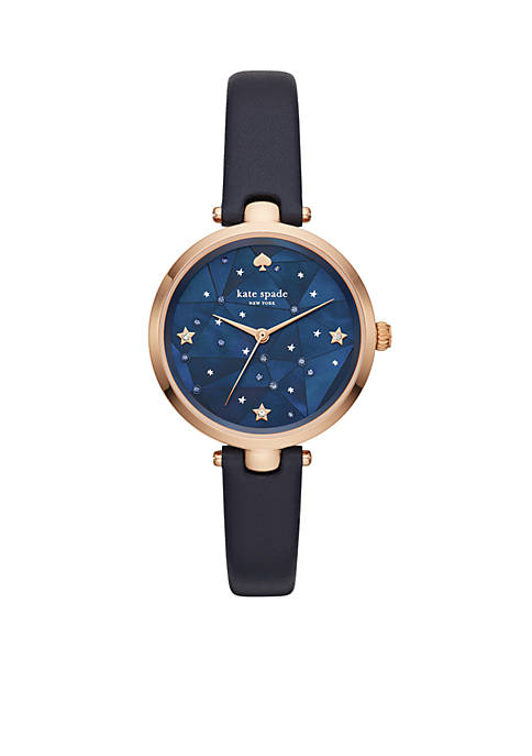 Womens Rose Gold-Plated Holland Star Leather Strap Watch