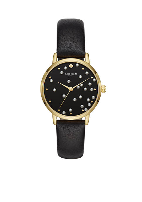 Womens Gold-Tone Metro Black Leather Strap Watch