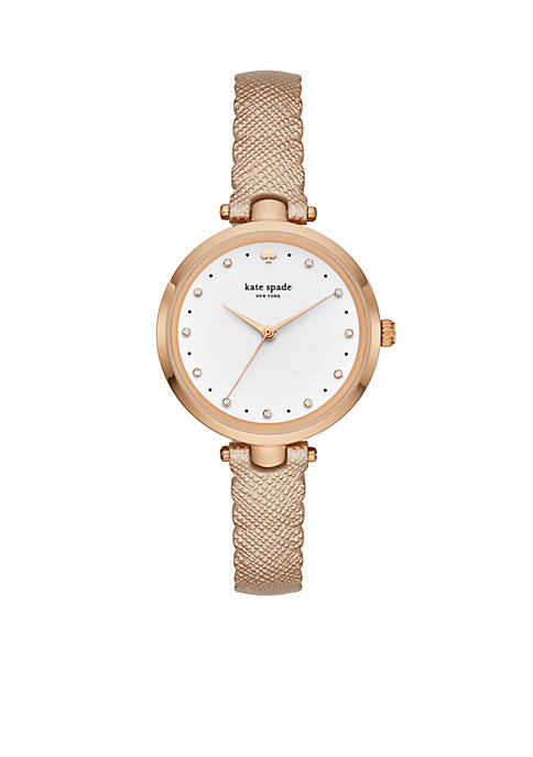 Womens Rose Gold Holland Scallop Leather Watch
