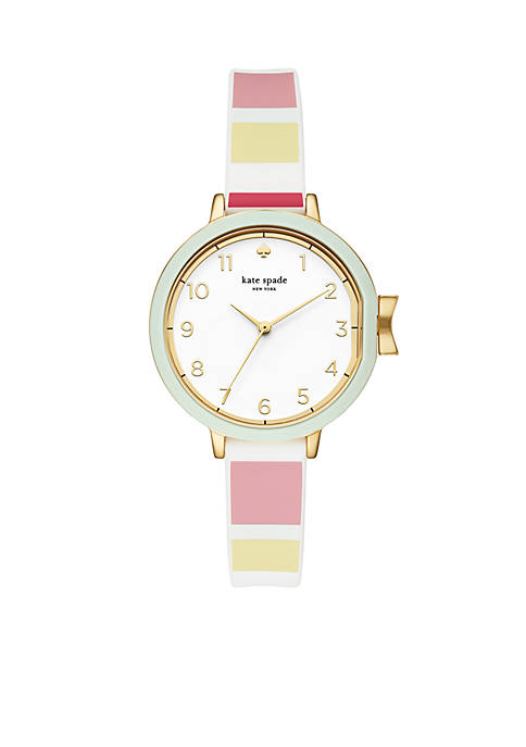 Womens Gold-Tone Park Row Striped Silicone Strap Watch