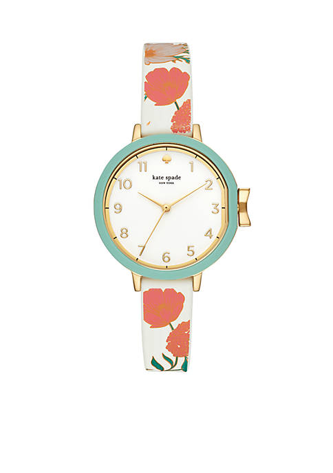 Gold-Tone Floral Silicone Strap Park Row Watch
