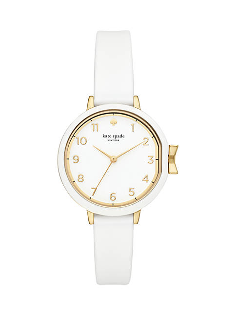 Gold-Tone and White Silicone Park Row Watch