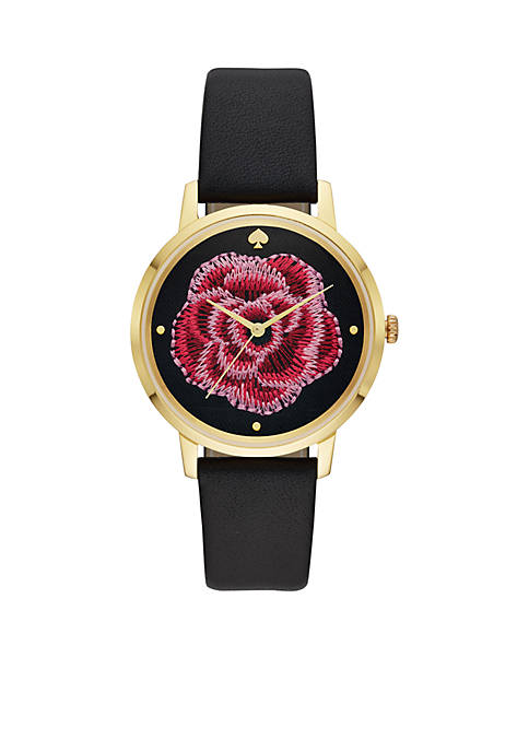 Gold-Tone Metro Grand Leather Watch