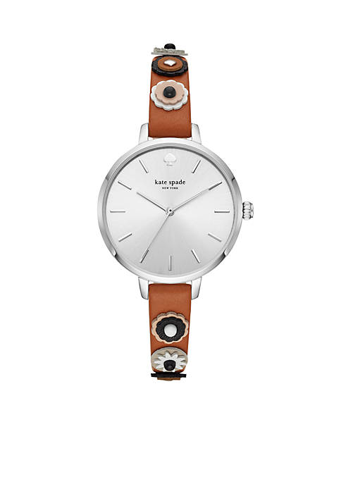 Silver-Tone Metro Three-Hand Brown Leather Watch