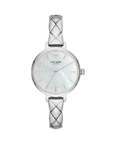 Womens Stainless Steel Skinny Quilted Metro Watch