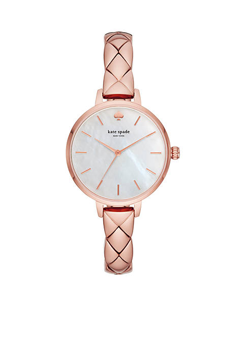 Womens Rose Gold-Tone Stainless Steel Skinny Quilted Metro Watch