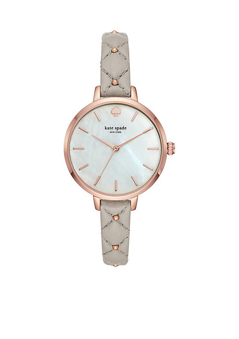 Womens Rose Gold-Tone Metro Three-Hand Gray Leather Watch