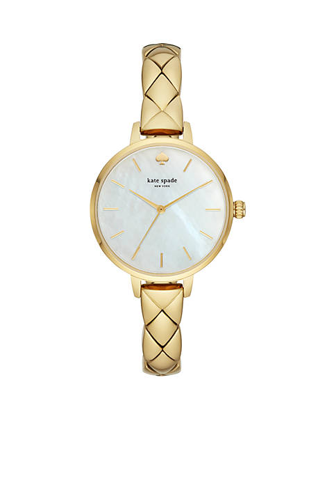Womens Gold-Tone Stainless Steel Skinny Quilted Metro Watch