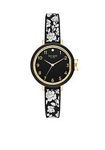 Gold-Tone Park Row Three-Hand Floral Silicone Watch