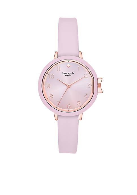 Rose Gold-Tone Park Row Three-Hand Silicone Watch