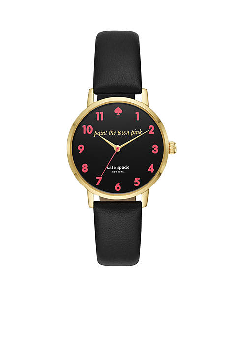Gold-Tone Metro Black Leather Watch