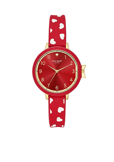 Gold-Tone Park Row Hearts Red Silicone Watch