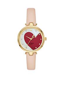 Gold-Tone Holland Heart Vachetta Leather Watch