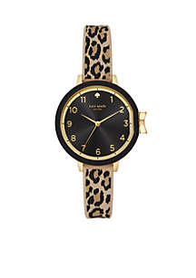 Gold-Tone Park Row Leopard Print Silicone Watch