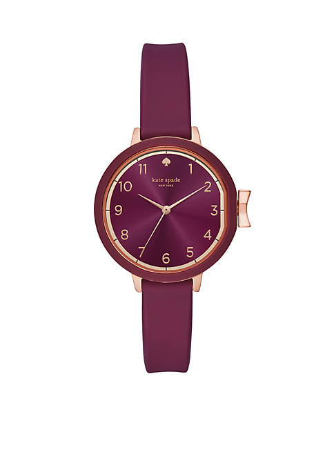 Rose Gold-Tone Park Row Purple Silicone Watch