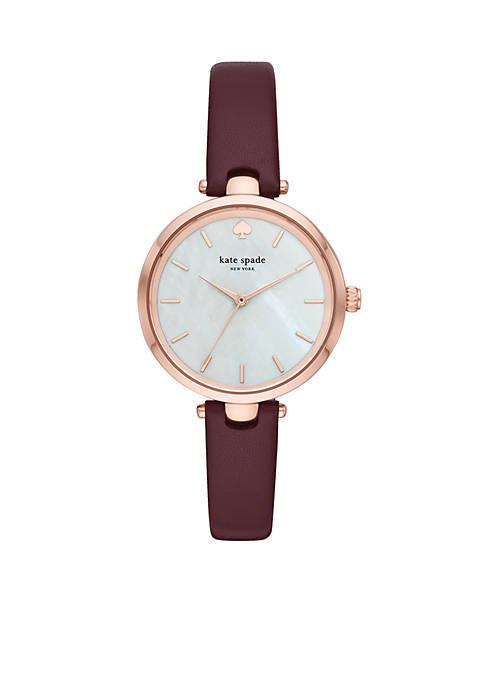 Rose Gold-Tone Holland Merlot Leather Watch Box Set