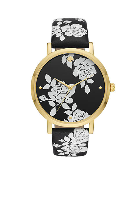 Gold-Tone Metro Floral Black Leather Watch