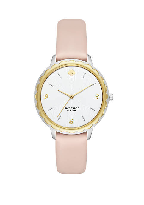 Morningside 3 Hand Scallop Pale Vellum Leather Watch