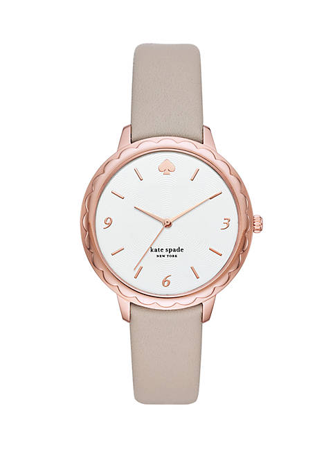 Morningside 3 Hand Scallop Warm Taupe Leather Watch