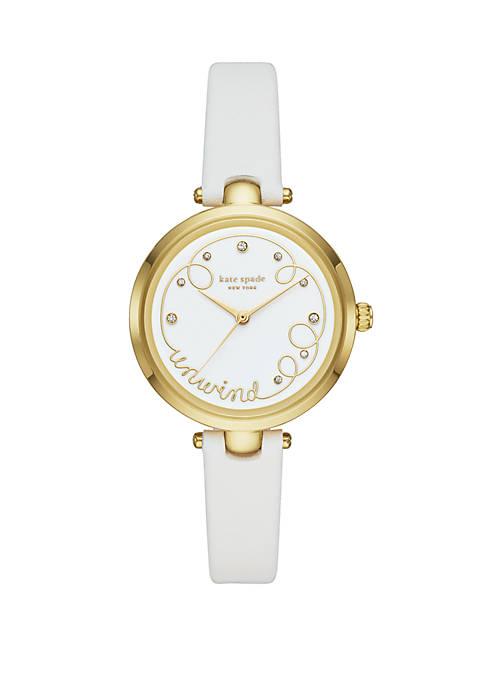 Holland 3 Hand White Leather Watch
