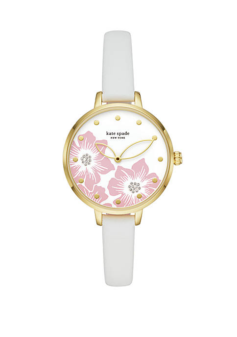 Metro Floral 2 Hand White Leather Watch