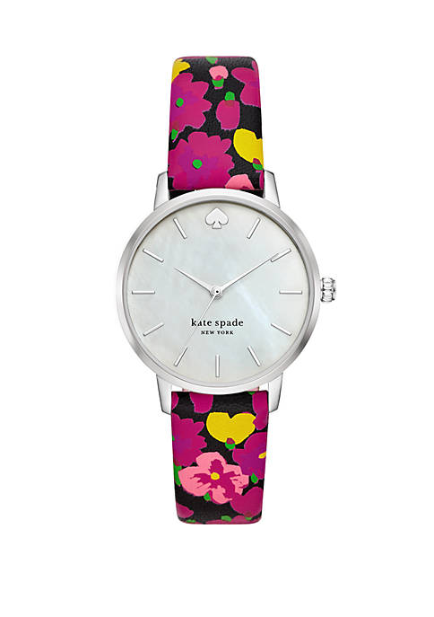 Metro 3 Hand Floral Leather Watch