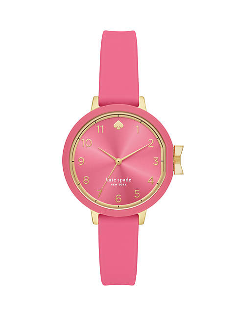 Park Row 3 Hand Pink Silicone Watch