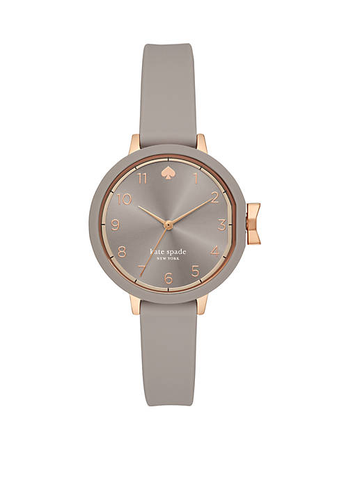 Park Row 3 Hand Warm Taupe Silicone Watch