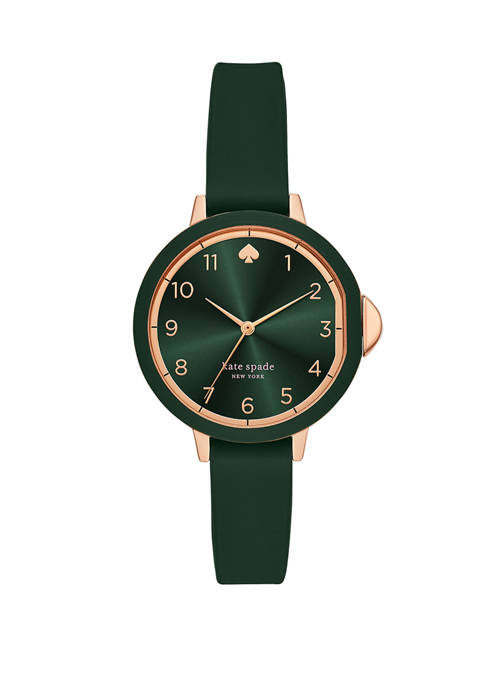 Womens Park Row Green Silicone Strap Watch