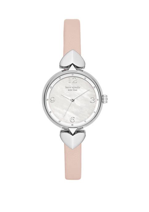 Womens Hollis Vellum Leather Strap Watch