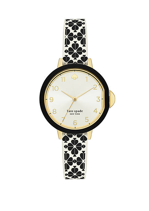 Womens Park Row Three Hand Flower Print Silicone Watch