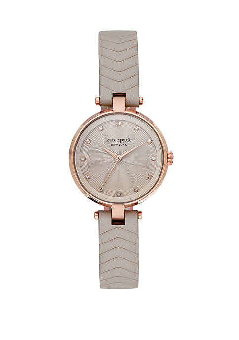 Fossil® Womens Annadale Three Hand Gray Leather Watch