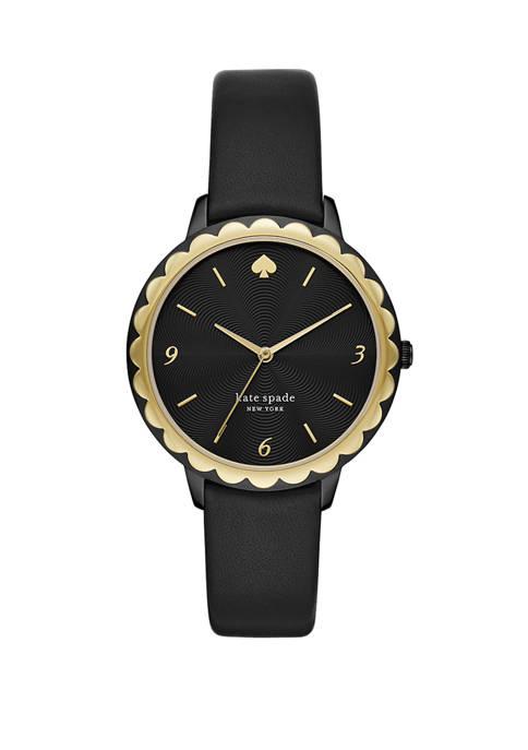 Womens Morningside Three Hand Black Leather Watch
