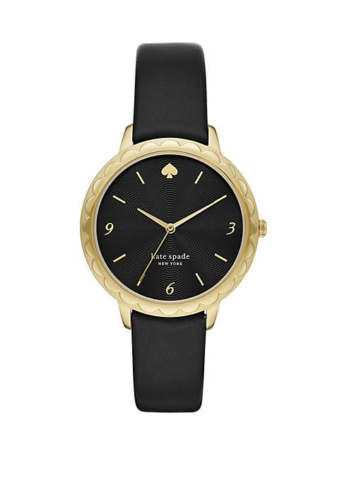 Fossil® Womens Morningside Three Hand Black Leather Watch