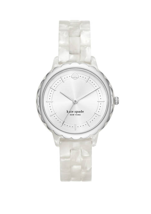 Morningside Three-Hand White Acetate Watch