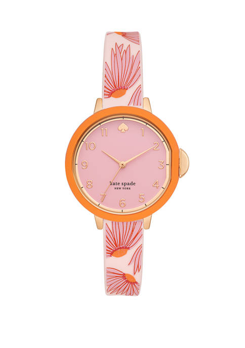 Park Row Three-Hand Matte Pink Floral-Print Silicone Watch