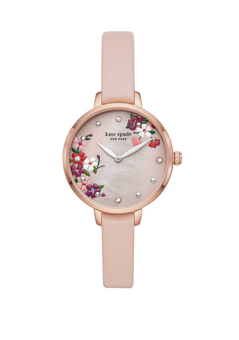 Womens Metro Two Hand Blush Leather Watch