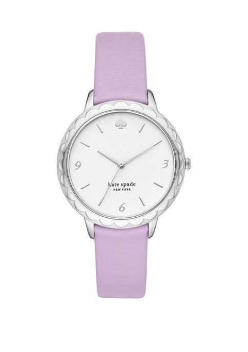 Womens Morningside Three Hand Purple Leather Watch