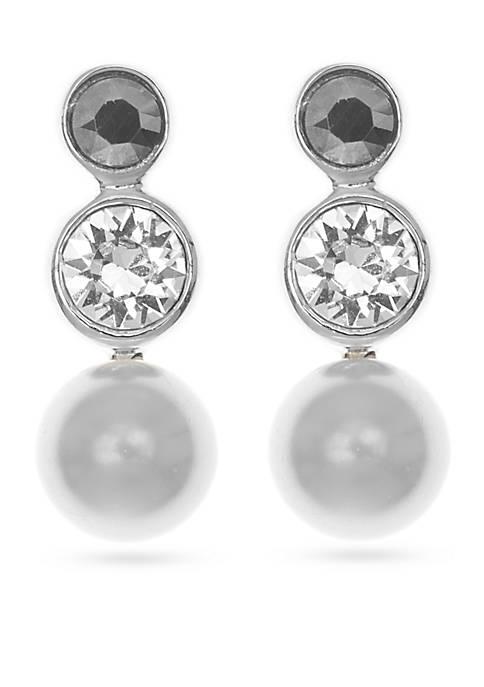 Sterling Silver Pearl Triple Drop Earrings