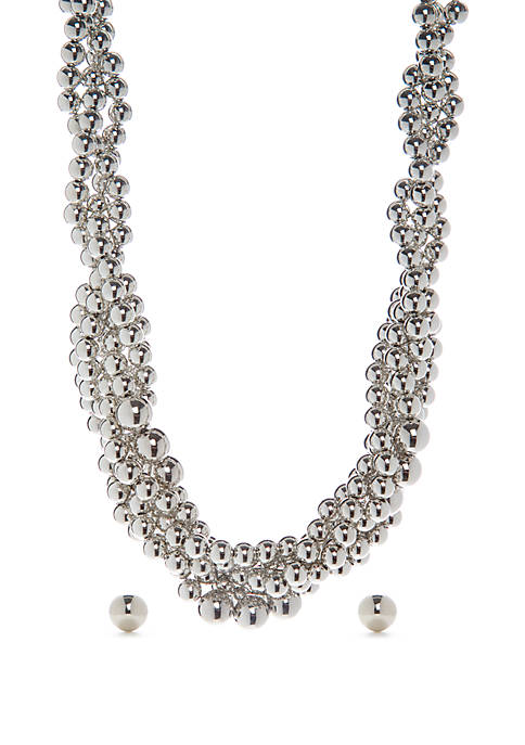 Beaded Torsade Necklace and Earring Set