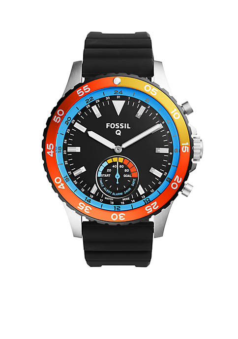 Womens Fossil Q Crewmaster Black Silicone Hybrid Smartwatch
