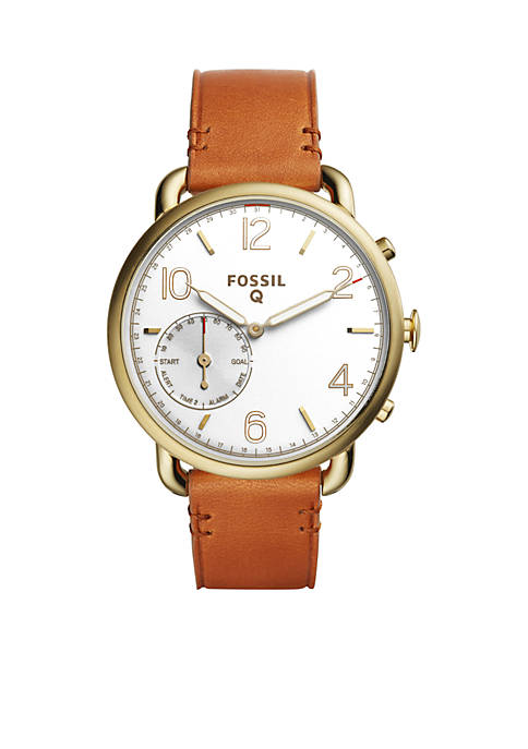 Fossil® Smartwatch Tailor Light Brown Leather Hybrid Smartwatch