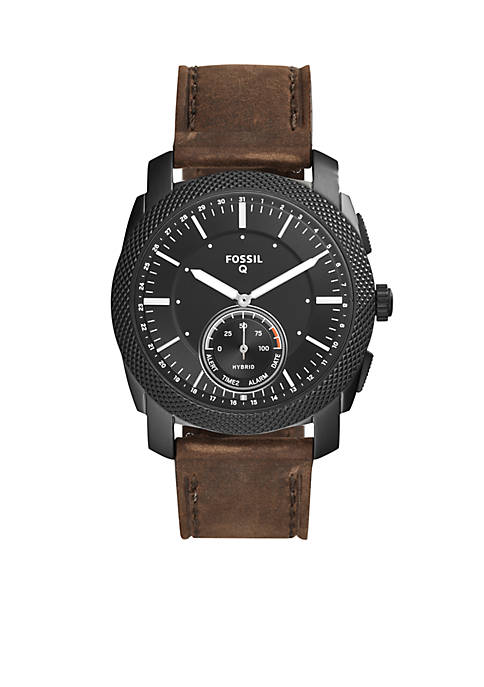 Fossil Q Mens Machine Leather Hybrid Smartwatch