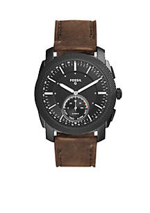 Men's Machine Leather Hybrid Smartwatch